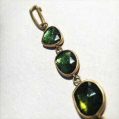 A detail of Lola Brooks green tourmaline bracelet with an 18k hand fabricated clasp. #lolabrooks @dolorescanard #18k #greentourmaline #finejewelry #futureheirlooms #lovegold #augustla