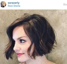 Casual everyday textured messy easy versatile short bob cut hairstyle || Relaxed beach look for any season || Style haircut as naturally wavy, straight, or deconstructed tousled soft loose waves w/a curling wand or flat iron