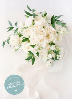 All-White bouquet breakdown: http://www.stylemepretty.com/2015/08/08/bouquet-breakdown-all-white-sophisticated-southern-wedding-bouquet/ | Photography: KT Merry - https://www.ktmerry.com/