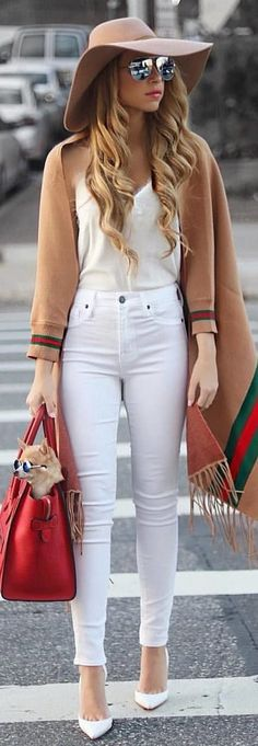 #winter #outfits white tank top and white skinny jeans. Pic by @milano_streetstyle.