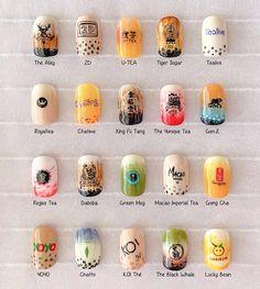 This salon has created 20 bubble tea nail art designs for the ultimate BBT addict - Daily Vanity<br> Bubble Tea Flavors, Nail Polish Hacks, Bubble Milk Tea, Mundo Harry Potter, Tea Design, Tea Brands, Tea Art, Bling Nails, Nail Manicure