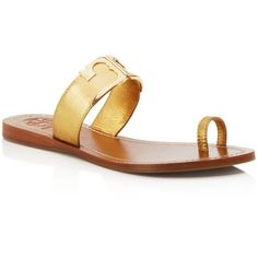 Tory Burch Marcia Metallic Toe Ring Slide Sandals ($210) ❤ liked on Polyvore featuring shoes, sandals, gold, gold sandals, tory burch, metallic gold sandals, metallic shoes and toe loop sandals