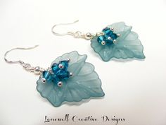 Blue Zircon Swarovski Bicone Cluster  Frosted Aqua Lucite Leaf Sterling Silver Earrings