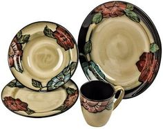 Rustic 16 Piece Dinner Table Set - Traditional Flower Style Plates, Bowls & Mugs