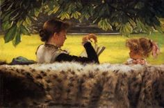 < 이야기책 읽기> (1878~1879) James Tissot: 영국을 무던히도 사랑했던 프랑스 출신 화가 제임스 티소는 자크 조셉이란 자신의 본명을 제임스로 바꾸고 런던에서 빅토리아 시대의 생활상을 주로 그렸다고 한다. 그림 속 여인은 집앞 정원 의자에 앉아 아이에게 동화책을 읽어주고 있다. 아이는 가만히 앉아 엄마가 읽어주는 책 내용을 들으며 머릿속으로 상상하는 것 같다. 위에 나뭇잎들과 아래의 호피털 때문에 가운데로 시야가 제한되어 누군가 의자 뒤에서 이 둘을 사랑스럽게 보는 시선으로 쳐다보며 그림을 그린 것 같이 느껴진다.