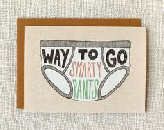 Graduation Card, Congratulations Card - Smarty Pants