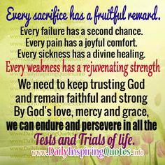 WITH GOD ON OUR SIDE - EVERY SACRIFICE HAS A FRUITFUL REWARD