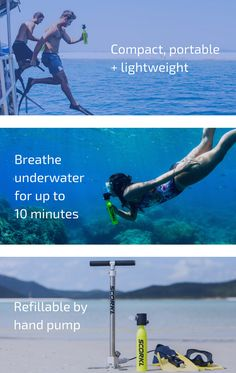 David Hallamore is raising funds for SCORKL - Breathe underwater with TOTAL freedom on Kickstarter! Scorkl is lightweight, portable, refillable via hand pump and gives you up to underwater Breathing Underwater, Scuba Diving Equipment, Weight Loss Motivation, Videos, Fitness Tips, Fitness Workouts, Breathe, Have Fun, Swimming
