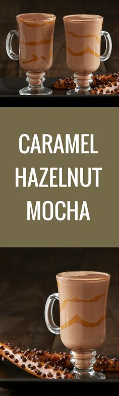 Coffee, chocolate and caramel – what combination could be better than the three of these in this Caramel Hazelnut Mocha? Dessert Drinks, Fun Drinks, Yummy Drinks, Yummy Food, Beverages, Non Alcoholic Drinks, Cocktail Drinks, Cocktails, Mocha Recipe