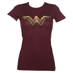 Ladies Dark Red Batman V Superman Wonder Woman Logo T-Shirt (335 BRL) ❤ liked on Polyvore featuring tops