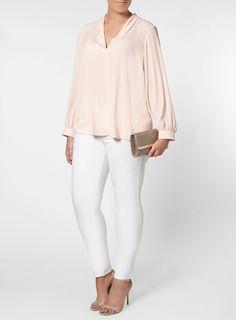 Plus Size Fashion | Blush Pink Shirt (plus size) #plussizefashion #top