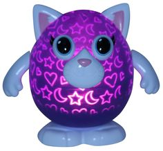 "NIB Playbrites 10"" Kitty Light Show Night Light Toy W/ 9pc Magic Fun Face #Playbrites"