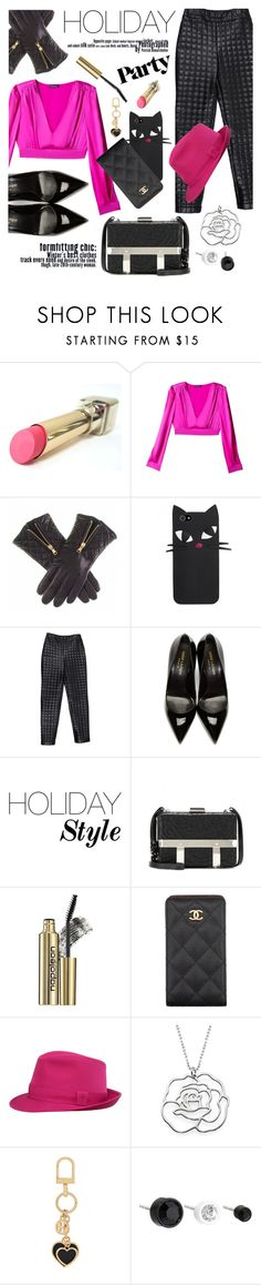 """""""Holiday Style: Leather Pants"""" by malussieversii ❤ liked on Polyvore featuring L'Oréal Paris, Bebe, Chanel, Yves Saint Laurent, Alexander McQueen, Napoleon Perdis, Tory Burch and Marc by Marc Jacobs"""