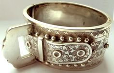 RARE Antique Victorian 1885 Sterling Silver BUCKLE Bracelet Buckle MOVES