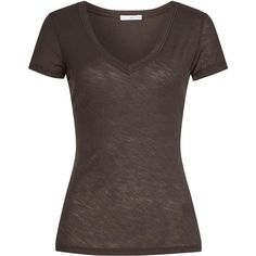 James Perse Cotton T-Shirt ($99) ❤ liked on Polyvore featuring tops, t-shirts, shirts, grey, shirt top, grey t shirt, t shirt, grey tee and gray top
