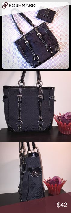 """COACH Gallery Tote Signature C Black * Brand: Coach * Style: F0849-F12344 * Color: Black Small Signature C * Measurements: Appx: 10"""" x 10"""" x 4"""", handle drop is 10"""" * Features: Coach canvas w/ patent leather trim, tan cloth interior has one zippered & two slip pockets, key clasp ring. Exterior has turnlock pockets on each side, slip pocket & nickel hardware, top zipper closure * Condition: Preloved, in good condition. There are cracks on one handle, minor surface scratches on hardware…"""