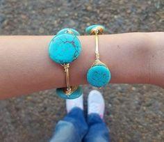 LARGE RoundTurquoise Wire Wrapped Bangle by WrappedAroundBySamie  --- Turquoise jewelry - bridesmaid jewelry - gift sets - gold jewelry - silver jewelry - ootd - fashion - edgy style