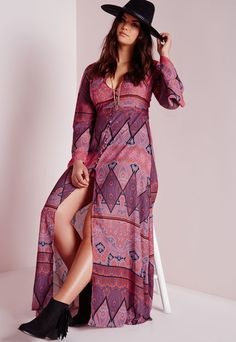 Plus Size Boho Maxi Dress Purple