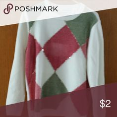 Sweater Alfred dunner, size medium, excellent condition, argyle design with some beading trim, white, soft green and coral colors. Alfred Dunner Sweaters Crew & Scoop Necks