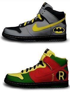 0f3d673534f2 Custom Nike Batman and Robin shoes.