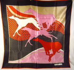 Vintage Greyhound Theme Womens Scarf  St Germain