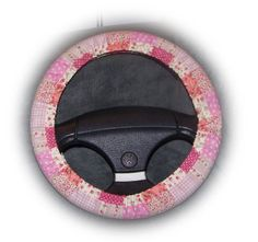 Pretty Pink Patchwork cotton fabric car steering wheel cover...