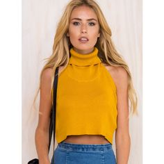 The Lilah Crop Top ($34) ❤ liked on Polyvore featuring tops, mustard, orange top, halter-neck crop tops, orange halter top, halter-neck tops and mustard yellow top