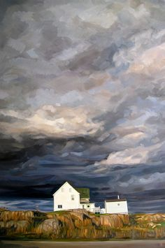 Storm Over Wesleyville, oil on canvas, 36 x 24 inches, by Heather Horton Landscape Art, Landscape Paintings, Watercolor Landscape, Sky Painting, Painting Inspiration, Amazing Art, Cool Art, Contemporary Art, Art Photography