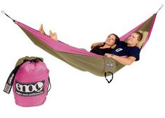 I love this ENO Double Nest hammock so much! When I go camping I have to fight for hammock time, even when there are other available hammocks. I love that I have a 1)PINK hammock and that 2)the parachute material is so strong!