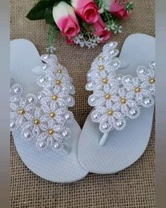 Diy Crafts Crochet, Beaded Crafts, Make Your Own Shoes, Wedge Wedding Shoes, Baby Hat Knitting Pattern, Dressy Sandals, Knit Shoes, Christmas Ornament Crafts, Beaded Sandals