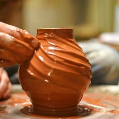 Using thickened slip to add texture to a small vase Glazes For Pottery, Pottery Bowls, Pottery Art, Ceramic Pottery, Slab Pottery, Pottery Wheel, Pottery Studio, Pottery Sculpture, Book Sculpture