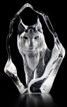 Mats Jonasson Lynx - Miniature Etched Crystal MJ 88135