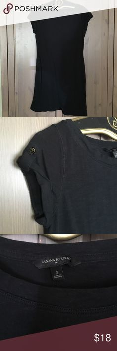 Black 100% cotton Banana Republic Tshirt Dress Black, super comfy, 100% cotton, tab sleeves with gold buttons, banana republic, no fading/tears/stains. Banana Republic Dresses