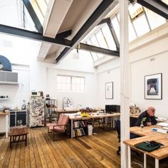 """""""Workspaces are white, passages are black"""" at Post-'s self-designed architecture studio. I really like how they matched the design of the spaces with the intent - giving the spaces affordances."""