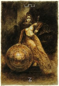 Luis Royo - The Labyrinth Tarot - Minor Arcana: Pentacles - Queen of Pentacles  Dependable, nuturing, warmhearted, sensuous, generous, earth mother. Take a realistic view of life, matter-of-fact attitude, reliable and loyal, feeling secure and home-loving, genuine desire to help other people, lover of animals and children, creative and resourceful, takes us further into the realm of our sense of security and connectedness to the world.