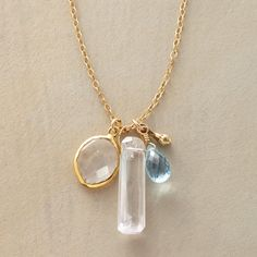"""CLARITY NECKLACE--A topaz and quartz pendant necklace, in which transparent Swiss blue topaz and crystal clear quartz charms cluster with an acorn-like accent on a 14kt goldfilled chain. Lobster clasp. Sundance exclusive handmade in USA. 20""""L."""