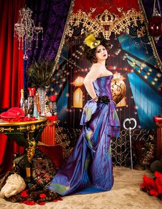 Steampunk Purple Peacock Victorian Corset & Skirt