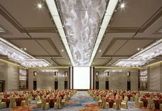 Shangri-la Jing-an Hotel Function Hall, Ceiling Light Design, Ceiling Lights, Crystal Wall, Crystal Chandeliers, Ceiling Installation, Lounge Design, Ballrooms, Banquet