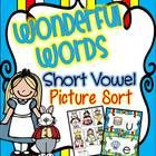 Short Vowels {Wonderful Words!} Picture Sort. Student recording sheet is also included!