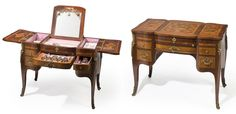 A Louis XV style satinwood and mahogany marquetry coiffeuse fitted with a French first-standard silver-gilt dressing set third quarter 19th century The three-part hinged top opening to reveal a central mirror flanked by compartments fitted with a silver-gilt mounted Paris porcelain, glass and enamel dressing table service