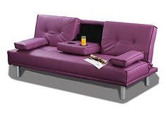 Sleep Design New Sleep Design Manhattan Modern Faux Leather Fold Down 3 Seater Sofa Bed With Drinks Table andamp