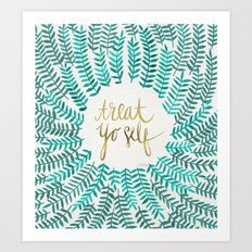 Art Print featuring Treat Yo Self – Gold & Turquoise by Cat Coquillette
