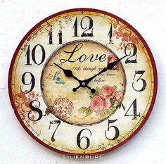 Uhr Wanduhr Rosen Blumen Nostalgie nostalgisch Küchenuhr Vintage modern Design