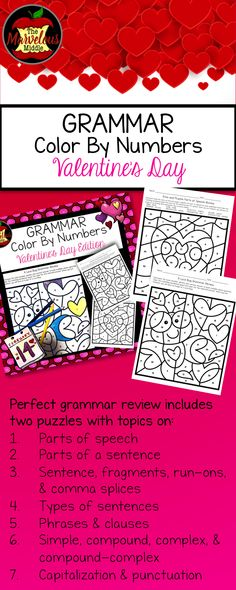 Grammar Color By Number-Valentine's Day Edition Parts Of A Sentence, Parts Of Speech, Complex Sentences, Types Of Sentences, Grammar Review, Eros And Psyche, English Teachers, Color By Numbers, Some Fun