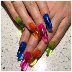 Neon Nail Polish, Uv Nails, Nail Polishes, Gel Polish, Pink Nails, Kylie Nails, Neon Nails, Orange Nails, Stiletto Nails