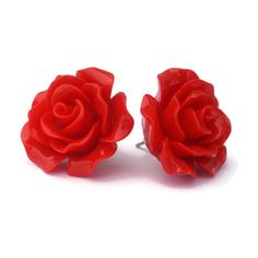 Pinup Red Rose Earrings Rockabilly Large Flower Jewelry (120 ARS) ❤ liked on Polyvore featuring jewelry, earrings, red, accessories, rockabilly, rose jewellery, rockabilly earrings, rose jewelry, rose earrings and red flower earrings
