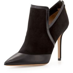 Salvatore Ferragamo Nume Point-Toe Suede Bootie ($382) ❤ liked on Polyvore featuring shoes, boots, ankle booties, zapatos, pointed toe ankle boots, suede booties, suede bootie, pointy toe ankle boots and short high heel boots