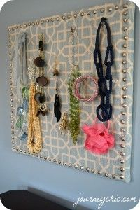 fabric covered jewelry board- love this with diff fabric