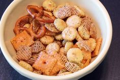 Christmas Party Mix  24-30 oz. each of oyster crackers, crispex, pretzels and chex (can add cheez-its, too)  12 oz. Orville Redenbacher's popping oil (GULP!)  1 package of original Hidden Valley ranch  1 tsp crushed dill  *mix together in a ziploc, refrigerate overnight