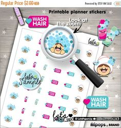 60%OFF - 60 PercentOFF - Wash Hair Stickers, Printable Planner Stickers, Washing Hair Stickers, Shampoo, Kawaii Stickers, Planner Accessorie